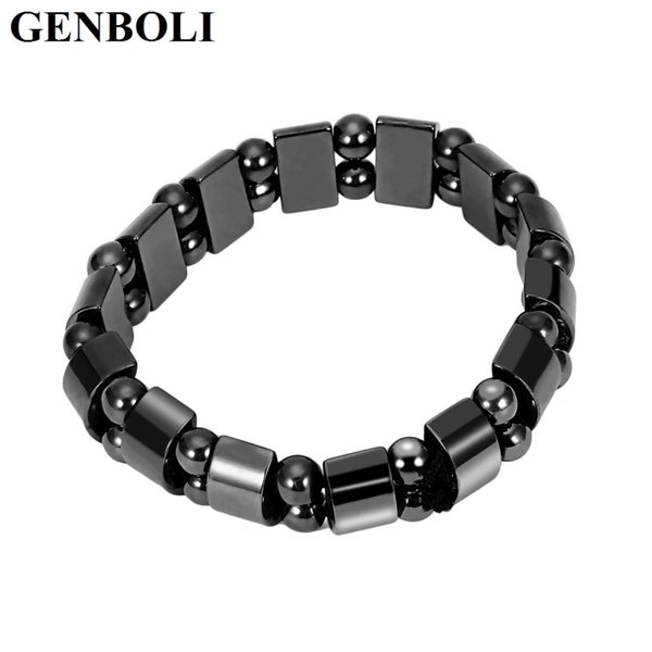 GENBOLI Fashion Charm Black Magnetic Hematite Bracelet for Men Women Lose Weight Healthy Bracelet Jewelry Accessories