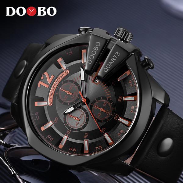 Relogio Masculino Big Dial Men DOOBO Watches Top Luxury Brand Black Quartz Wrist Watch Men Clock Men's Sports Watch New