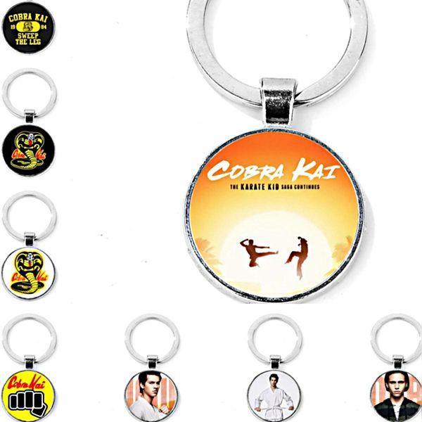 cute children boy men alloy silvery round Time Gem Cabochon Cobra Kai KeyChain Cobra KeyChain Cobra Kai Key Chain Ring Pendant 2018 y190