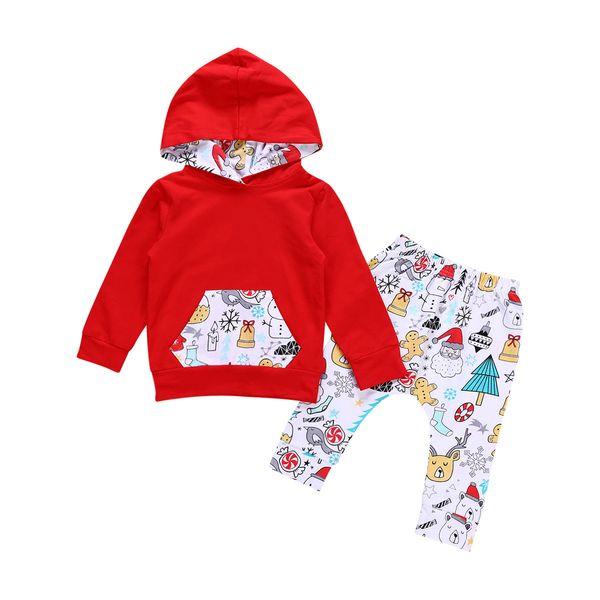 Bebek Noel Hoodie Kıyafetler Kar Tanesi Bebek Kız giysileri Şeker Kuş Ayı Baskılı Kapşonlu Cep Kış Yenidoğan Çocuklar Tasarımcı Giysileri BY0372