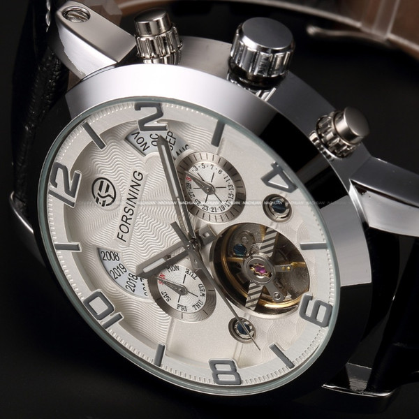 Automatic Stainless Silver Steel Case Black Leather Strap White Dial Date Day Year Month Display Men Casual Mechanical Watch