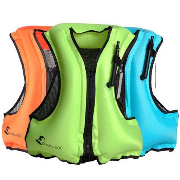 Novo Colete salva-vidas Inflável Snorkeling Colete Zip Adulto Natação Jaqueta de pesca Cinta da cintura Ajustável Colete de Vida
