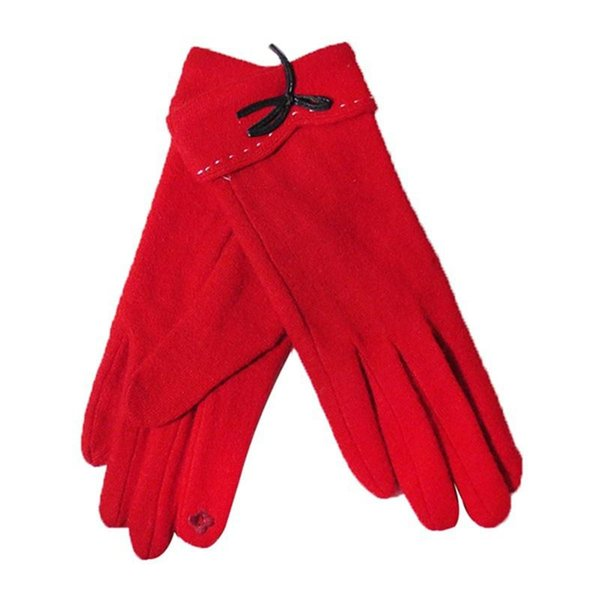 mrwonder New Women Solid Color Winter Warm Cashmere Gloves Red With Bow