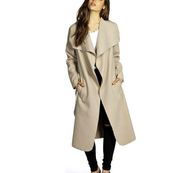 England Style Women Trench Coat Autumn And Winter Outwear Fashion Femme Coat Large Size M-2XL Woolen Overcoat With Belt Chic