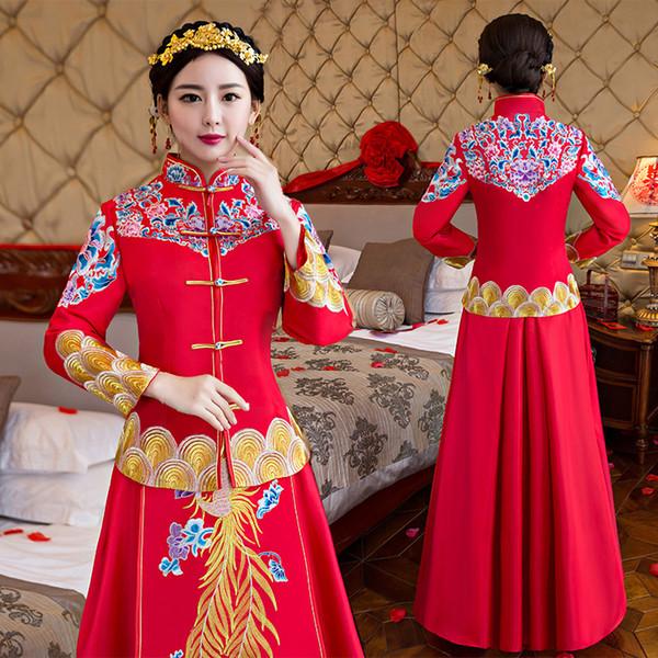 wedding cheongsam traditionelle chinesische Brautkleid Alte Ehe Kostüm Kleid Kleidung Damen Stickerei Phoenix rot Qipao