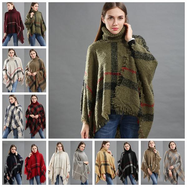 Women Plaid Tassel Poncho Sweater Turtleneck Grid Knit Scarf Wrap Vintage Scarves Cloak Coat Girls Winter Warm Clothes 50pcs AAA1170