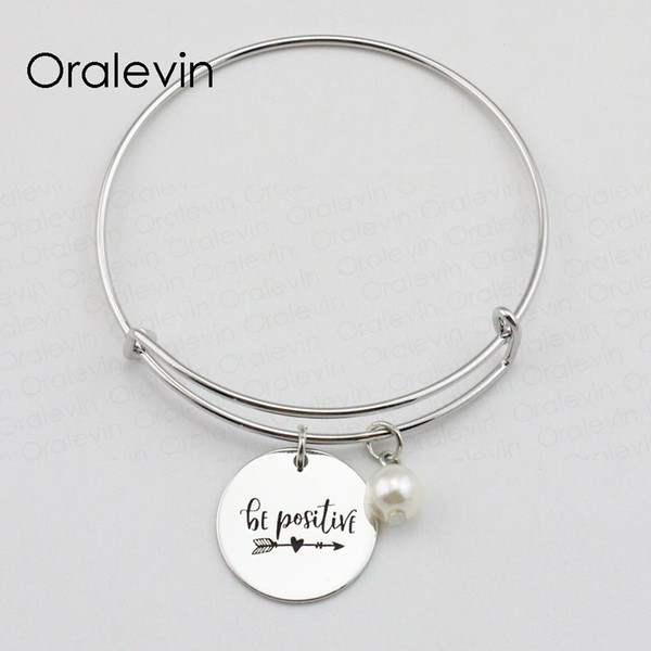 Hot Fashion BE POSITIVE Inspirational Hand Stamped Engraved Pendant Expandable Charm Wire Bangle Bracelet Gift Jewelry,10Pcs/Lot, #LN1998B
