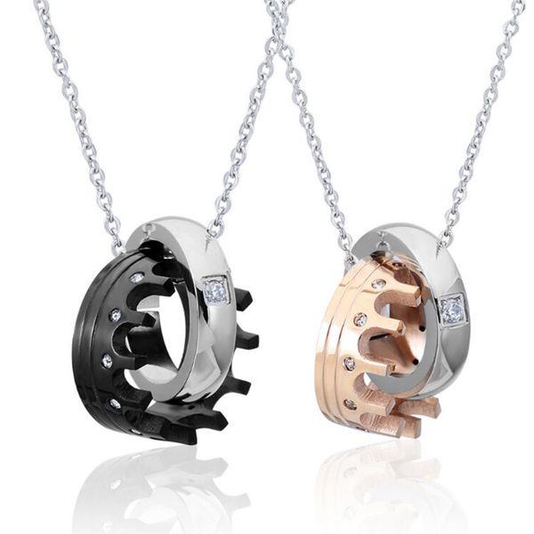 1 Stück Liebe Krone Halsketten Paar Halskette Anhänger Frauen Männer Kette Freundin Geschenke Edelstahl Liebhaber Schmuck
