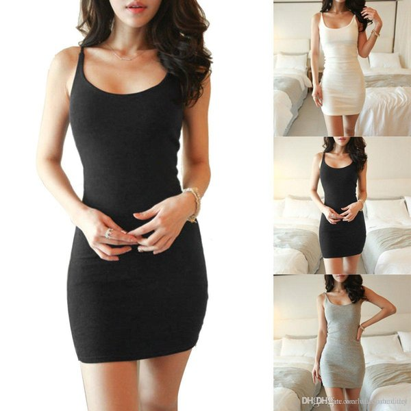 Womens Casual Dresses Sexy Bodycon Casual Sleeveless Evening Party Cocktail Short Mini Dress Best Item Fashion Vest skirt Slip Dress 4 Color