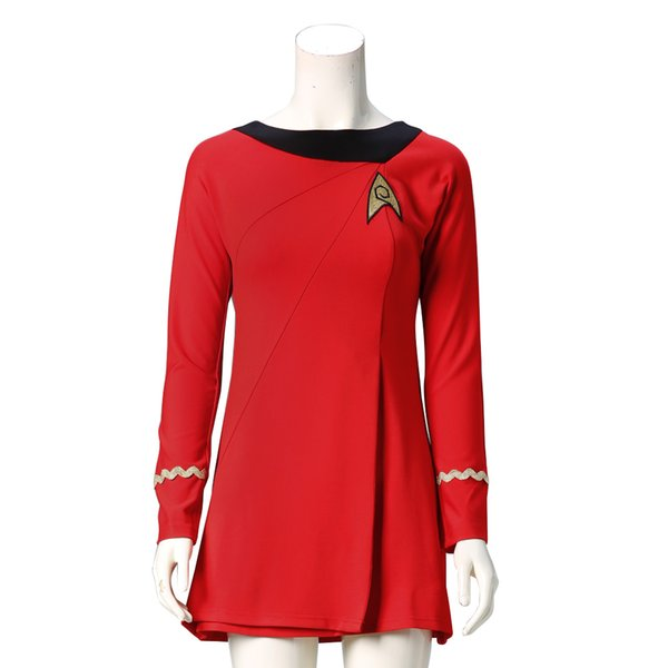 Free Shipping Star Trek Costumes Cosplay Star Trek Female Duty Uniform Red Dress Cosplay Costumes For Halloween
