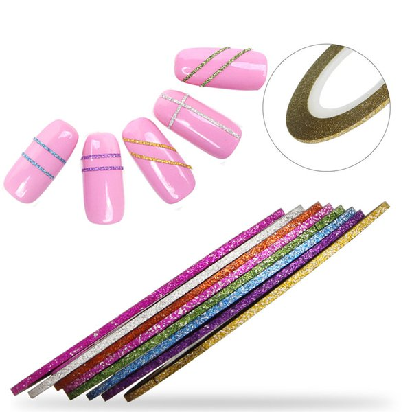 Art Stickers Decals 8pcs/lot 1mm Scrub Striping Tape Line Mixed Color Nail Art Stickers DIY Manicure Tools Women Nail Tips