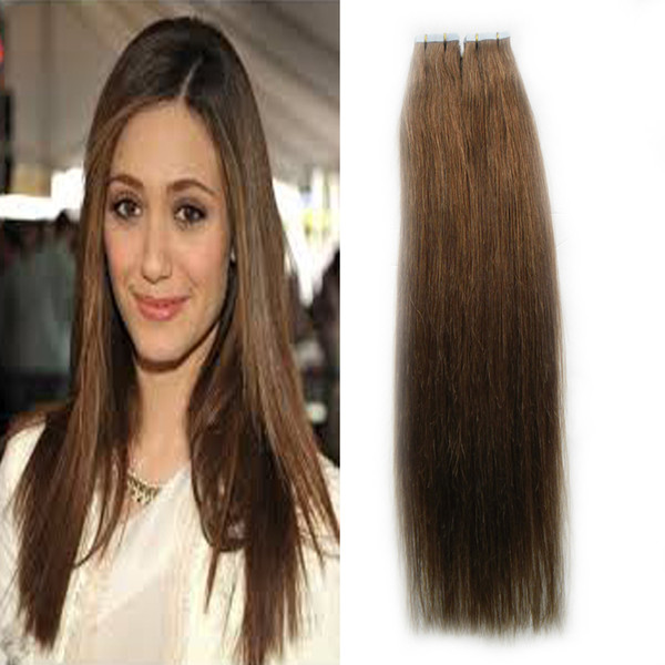 #6 Medium Brown virgin hair Brazilian Tape In Human Hair Extensions Straight 100g 40pcs/Set skin weft tape hair extensions 4b 4c