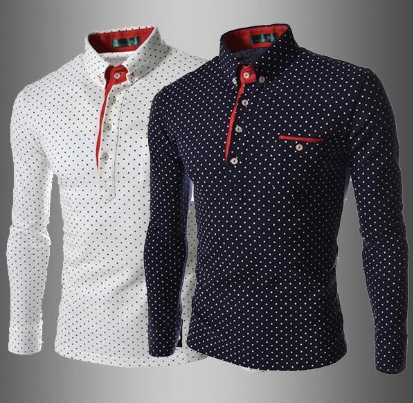New Dress Shirts Men's Fashion Luxury Stylish Casual Designer Dress Polka Dot T Shirt Muscle Fit Shirts