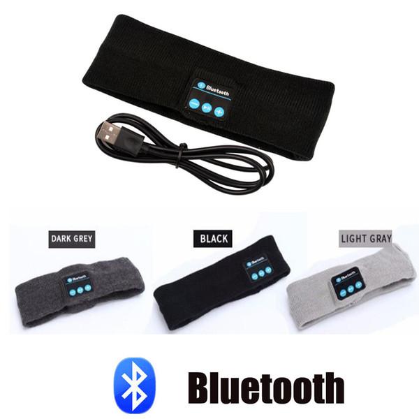 Sra. Win Knitting Music Headband Headset w / Mic Auricular Bluetooth inalámbrico para correr Para correr Yoga Gimnasio Dormir Deportes Auricular