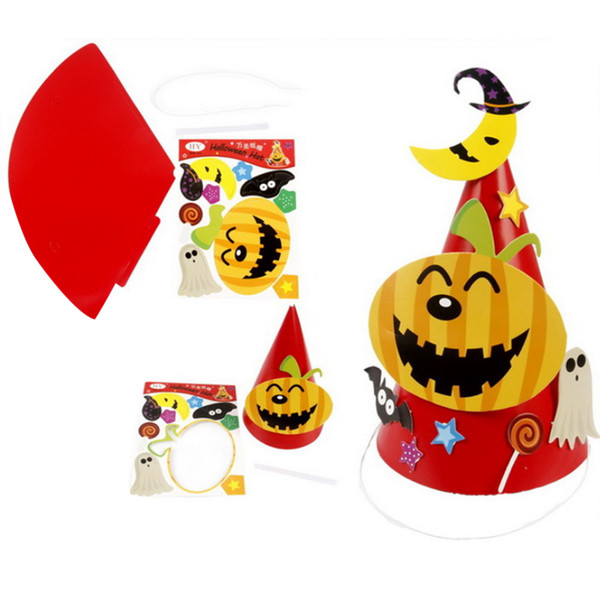 2019 Cute Halloween Ornament Cartoon Pattern Hat Kids Paper Coned Hat Toy Festival Decorpumpkin From Zehangame 13 86 Dhgate Com