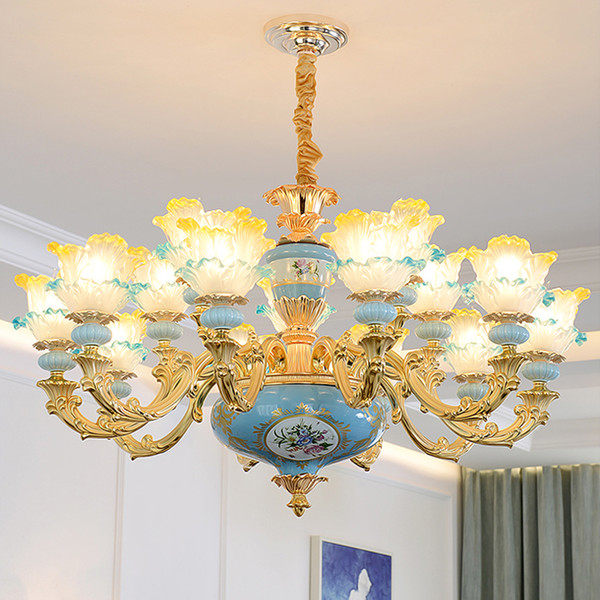 Chinese Chandelier Luxury Living Room Hanging Lamp Bedroom Study Blue Ceramics Pendant lamps Personality Restaurant hotel Glass Chandeliers