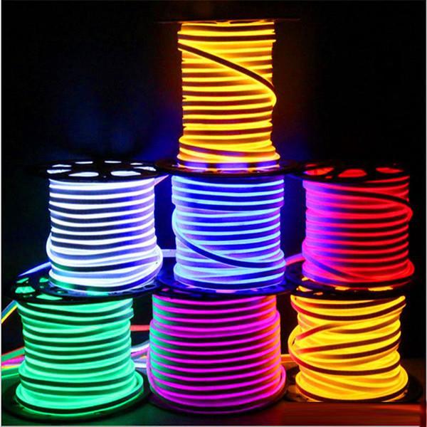 Recém LEVOU tira luzes à prova d 'água IP65 tira SMD2835 flexível LED 120 leds ambos os lados brilhante alto brilho 8 cores neon light atacado 50 m +