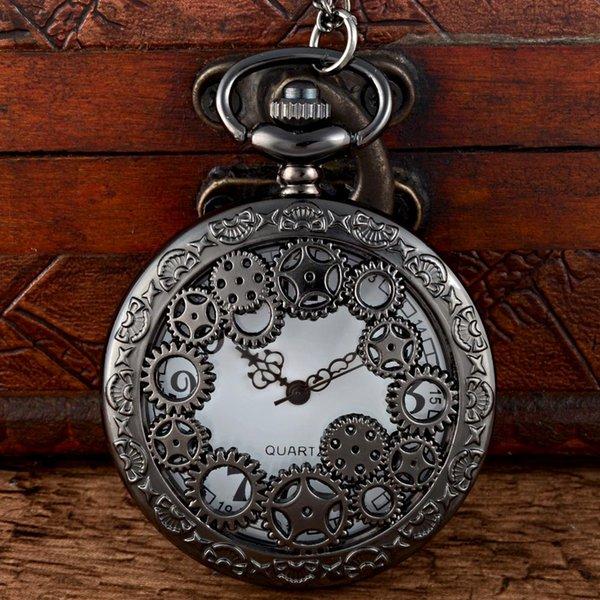 New Fashion Black Steampunk Skeleton Quartz Pocket Watch Chains Vintage Men Women Pendant Necklace Clock Gift