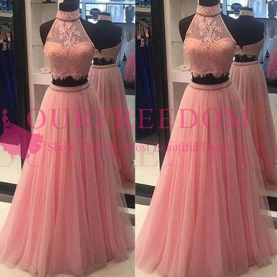 2019 Two Piece Pink Evening Dresses Halter Neck Lace A Line Sexy Formal Prom Dresses Custom Made Party Gowns Specail Dresses
