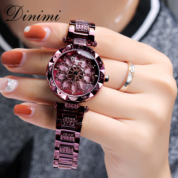 Dimini Fashion Luxury Women Watches Diamond Lady Watch Quartz Wrist Watch Stainless Steel Gold Ladies Watches Dropshipping Gifts Y18102310