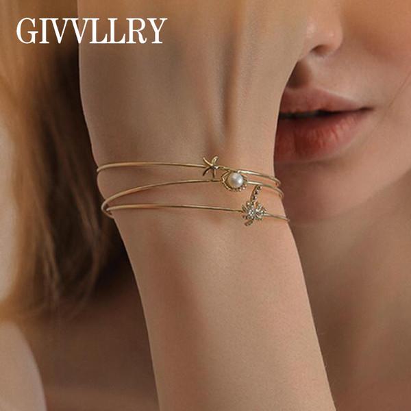 GIVVLLRY Minimalist Gold Color Cuff Bangles Set Elegant Creative Beach Shell Metal Starfish Shiny Tree Charm Bracelet for Women