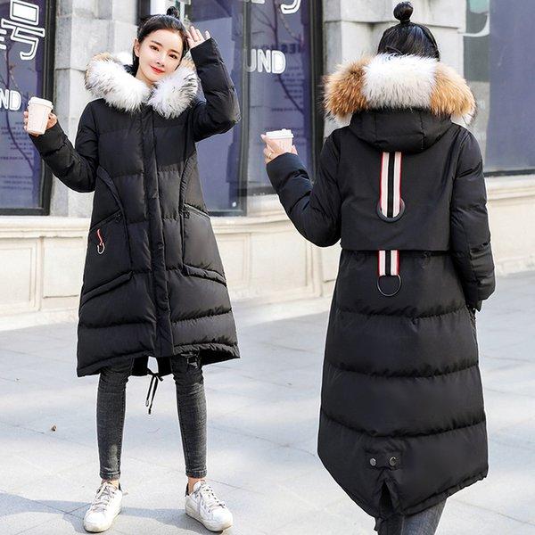 Damen Mäntel Koreanische Winterjacken Waschbären Pelzkragen Daunen Baumwolle Parkas Mit Kapuze Damenbekleidung 2018 Neue Mode M L XL