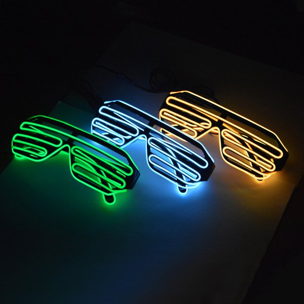 EL Shutter Shades Light eyeglasses with 3V Driver Cold night light line glasses el wire For NightClub mask party