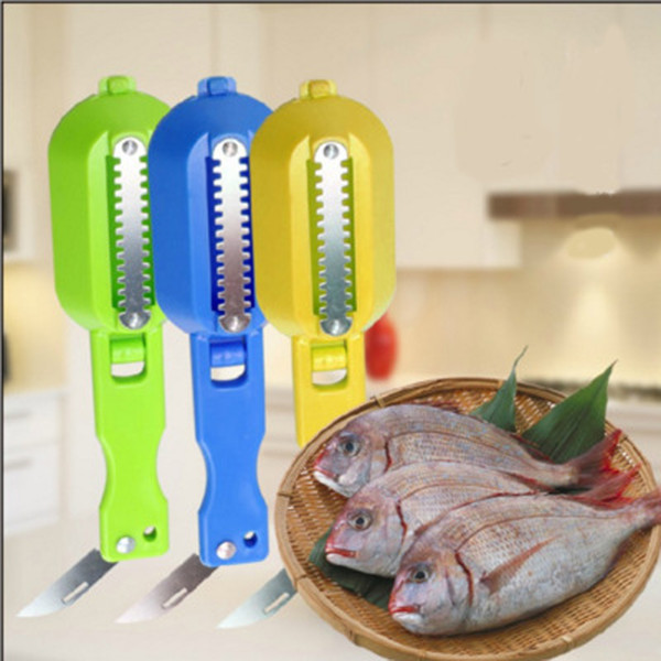 Kitchen Tool Cleaning Fish Skin Steel Fish Scales Brush Shaver Remover Cleaner Descaler Skinner Scaler Fishing Tools Knife