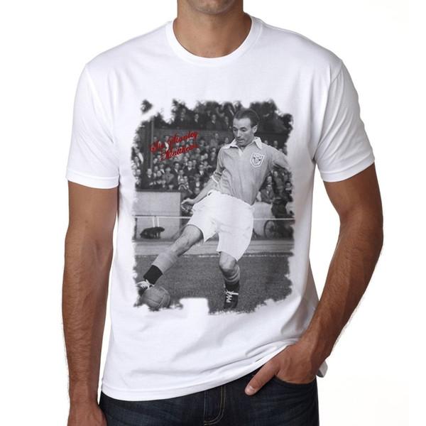 100% algodão casual manga curta Sir Stanley Matthews Tshirt T-shirt dos homens O-pescoço Moda Impresso homens Algodão T-shirt em torno do pescoço do homem