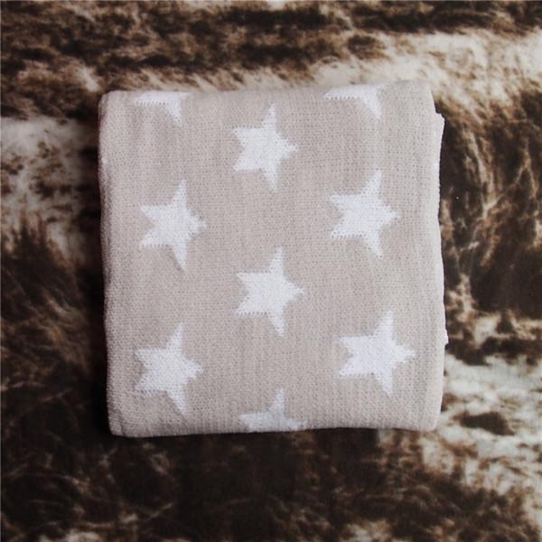 90x76cm grau / hellblau / rosa baumwolle stern doppelschicht werfen gestrickte decke kinder thread decke wickeln baby