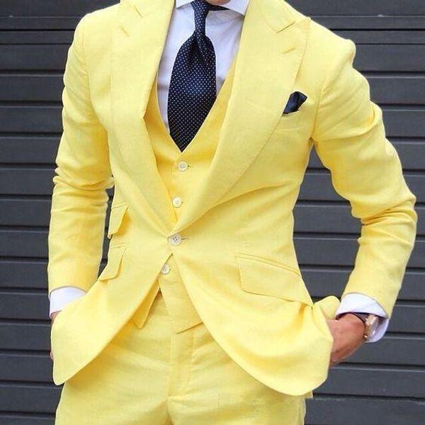 New Handsome Peakedl Lapela Um Botão Brilhante Amarelo Homens De Casamento Melhor Ternos Smoking Ternos Homens Festa Ternos (Jacket + Pants + Tie + Vest) NÃO; 206