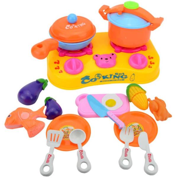 1 set 16 pièces jouet En plastique jeu Cuisine oeuf Fruits Légumes Coupe cuisinières Jouets Enfants Bébé heureux Cuire