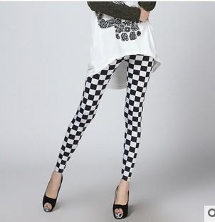 Mulheres Leggings Cuecas de Seda de Leite Na Moda Preto e Branco Malhas Nove Cent Calças Legings Mujer Capris Polainas Boothoses