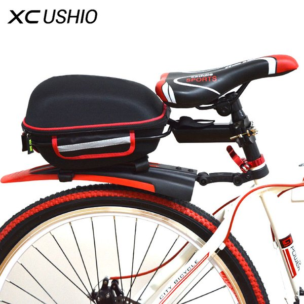Quick Release Locked On Seatpost Aluminium Alloy Frame Bicycle Rear Rack Luggage Bag with Rainproof Cover for Mountain Bikes