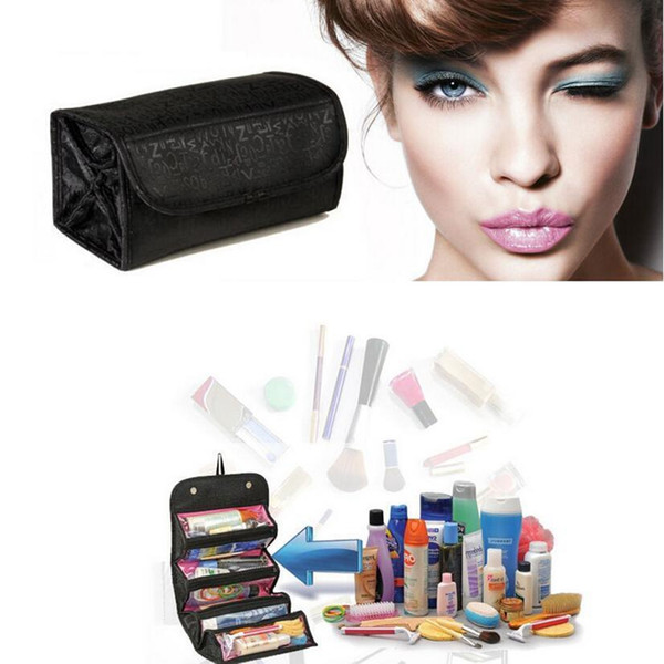 ROLL-N-GO Multifunction Cosmetic Bag Women Fashion Multi-pocket Makeup Bag Storage Toiletry Case Travel Organizer 2 Colors AAA27