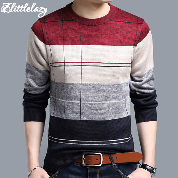 2018 brand social cotton thin men's pullover sweaters casual crocheted striped knitted sweater men masculino jersey clothes 5066 S917