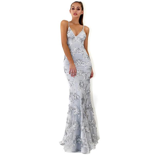 Evening Wear Dresses V Neck Plus Size Maxi Long Dresses Glitter Sequin Dresses Wholesale Bandage Backless Celebrity Prom Cocktail Dress
