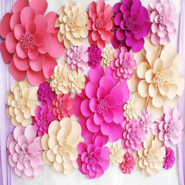 28pcs Set Giant Foam Paper Flowers For Wedding Backdrops Wall Paper Deco Windows Display Stage Props Decorations Home Deco