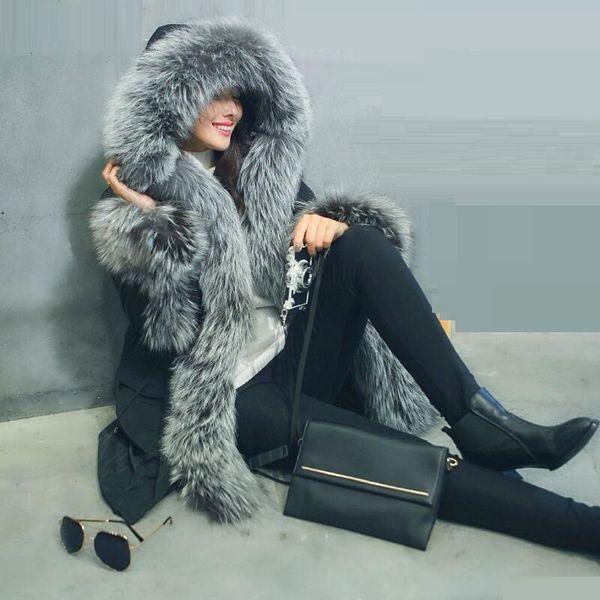 2017 Yeni Avrupa tarzı Moda Gerçek Tilki Kürk Ceket Kadınlar Sıcak Kış Kürk Uzun Lüks Kalın Kadın Ceket Vizon