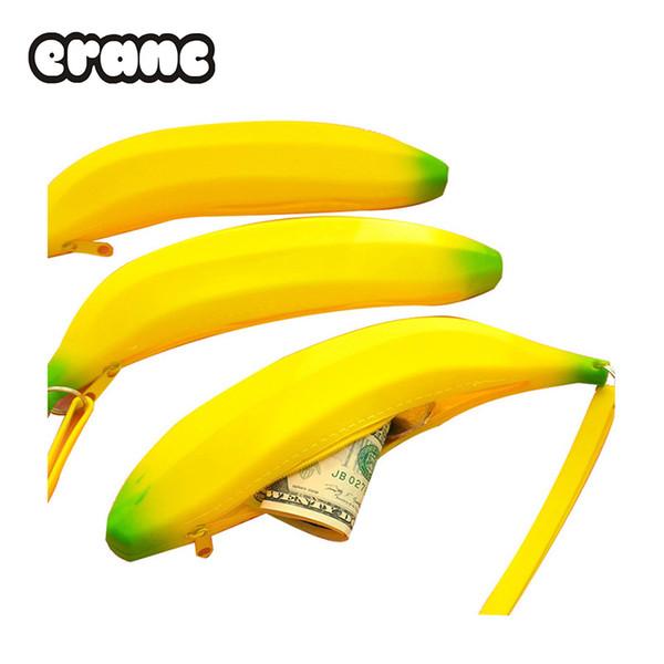 Портмоне пенал портативный новинка симпатичные банан силиконовая ручка сумка кошелек сумка