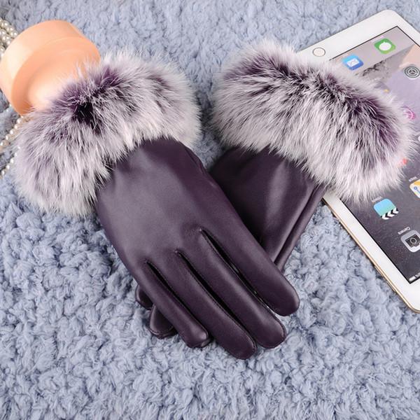 Women Lady Black Leather Gloves Autumn Winter Warm Rabbit Fur Mittens Genuine Thermal Winter Short Design Sheepskin Gloves