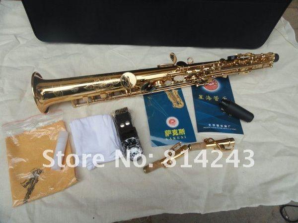 Marca Xinghai SS-100 B Soprano Sassofono Tubo dritto Superficie oro Lacca Ottone Sax intagliato a mano Goccia B Strumento musicale