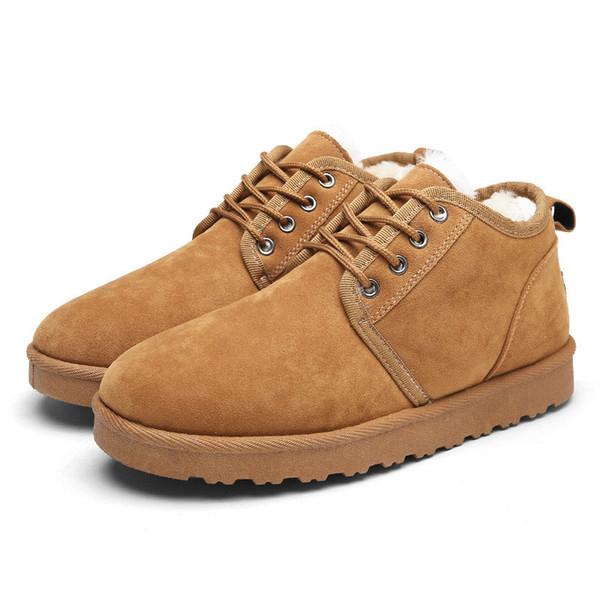 Hommes Chaussures Top Mode Nouveau Hiver Casual Bottines Bottes Chaud Chaussures De Fourrure En Cuir Chaussures