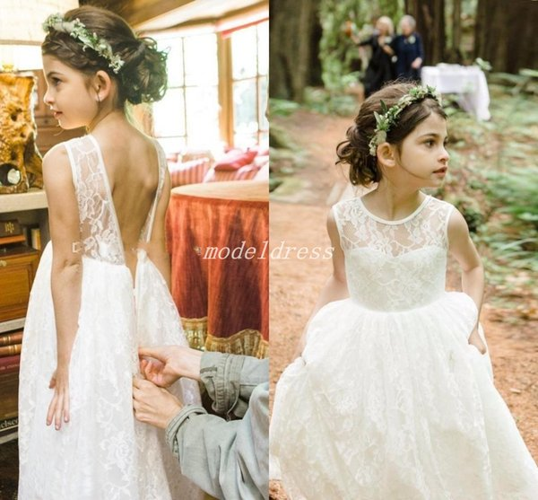 2018 Sweet Flower Girl Dresses For Weddings Jewel Backless Lace Girls Pageant Dress Child Birthday Party Gowns First Communion Wear