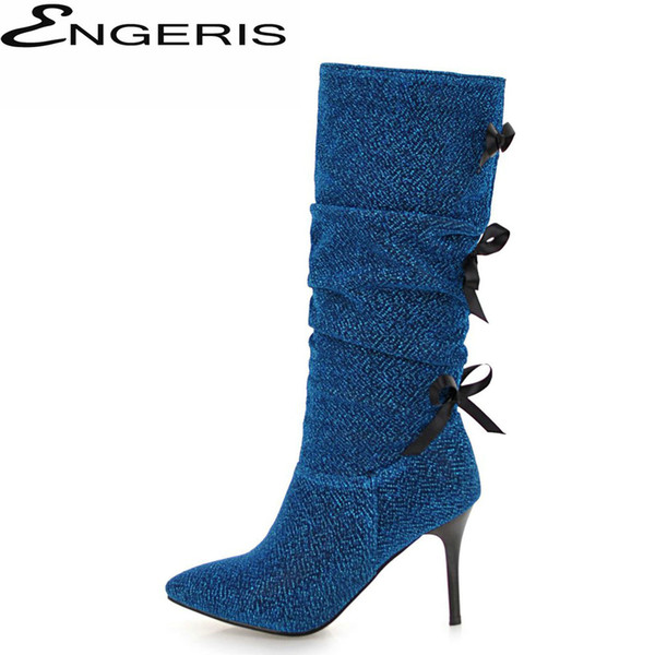 ENGERIS Knee High Boots For Women Stiletto Heel High Heels Thigh Boots Fashion Botines Mujer Glitter Party Dress Shoes