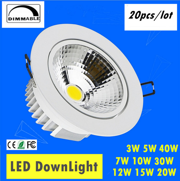 20pcs / lot AC85-265V 3W 5W 7W 10W 12W 15W 20W 30W 40W 40W Spot LED Downlight LightBaby LED Spot empotrable Down downlight ligero