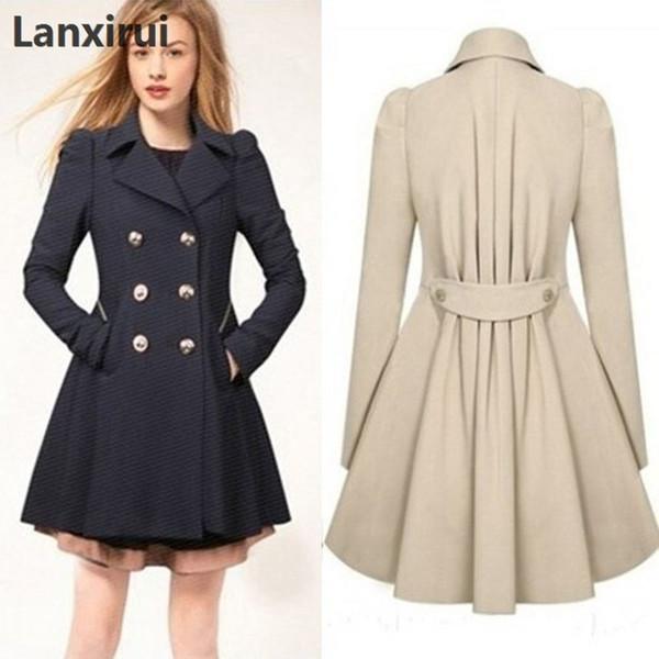 Especially Female Coat England Style Women Spring Double-Breasted Long Trench Coat Overcoat Raincoat Windbreaker Coats 5XL PLUS S18101302