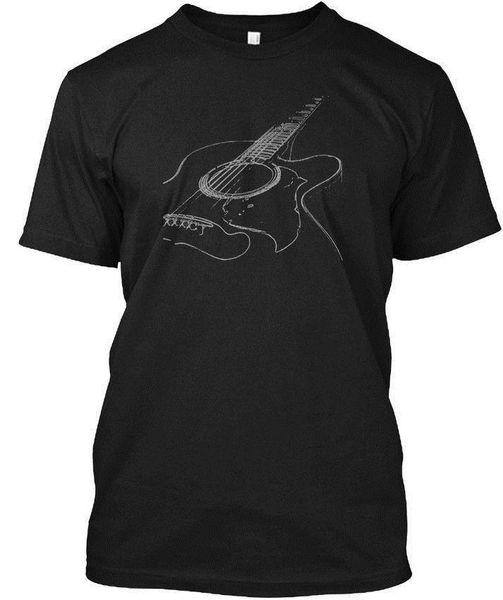Guitare acoustique Cool Musicien En Gros Cool Casual Manches Coton T-shirt De Mode Nouveau T-shirts Unisexe Drôle Tops Tee Tagless Tee T-shirt