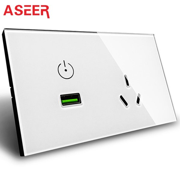 ASEERAU/US Standard Black Crystal Glass Panel Touch Control USB Wall Power Socket Outlet AC110-240V,15A USB Port Socket for home