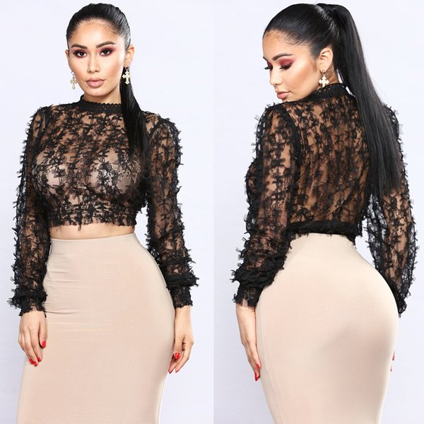 Mesh Bow See-Through Short Top Sexy Women O-Neck Bare Midriff Long Sleeves Hollow Out Butterfly Button Ladies Shirt